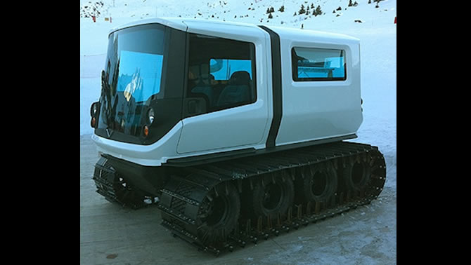 A futuristic-looking snow vehicle.