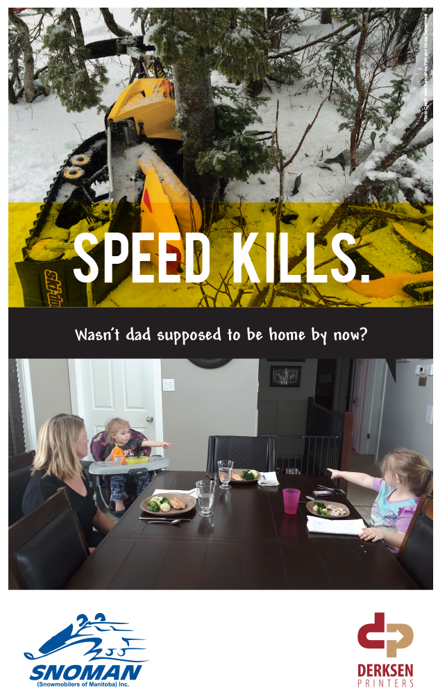 A snowmobile wrapped around a tree and a family missing it's fourth member. Picture used for Manitoba's Snoman Speed Kills Campaign.