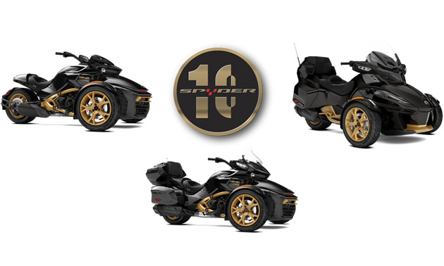 Three special edition Can-Am Spyder models custom-designed for the Spyder 10th Anniversary: RT Limited 10th Anniversary edition, F3 Limited 10th Anniversary edition and the F3-S 10th Anniversary edition.