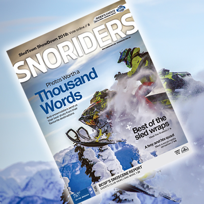 Cover photo for SnoRiders Fall 2017 magazine.