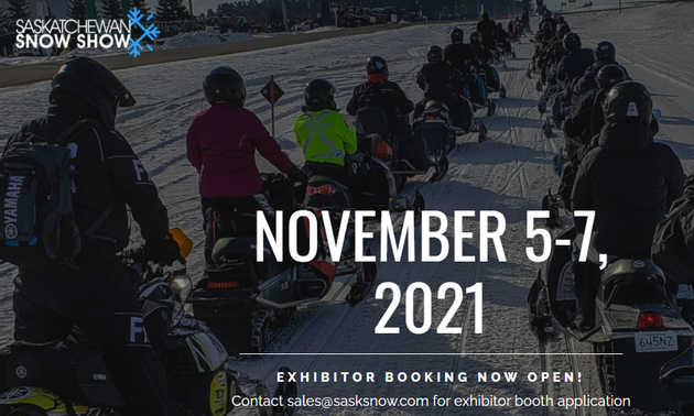snowmobilers riding with the event date printed in white letters