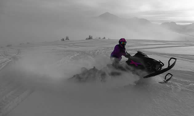 Cindy Rougoor carves up the snow in McBride, B.C.