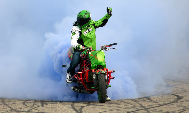 A streetbike rider does a burnout.