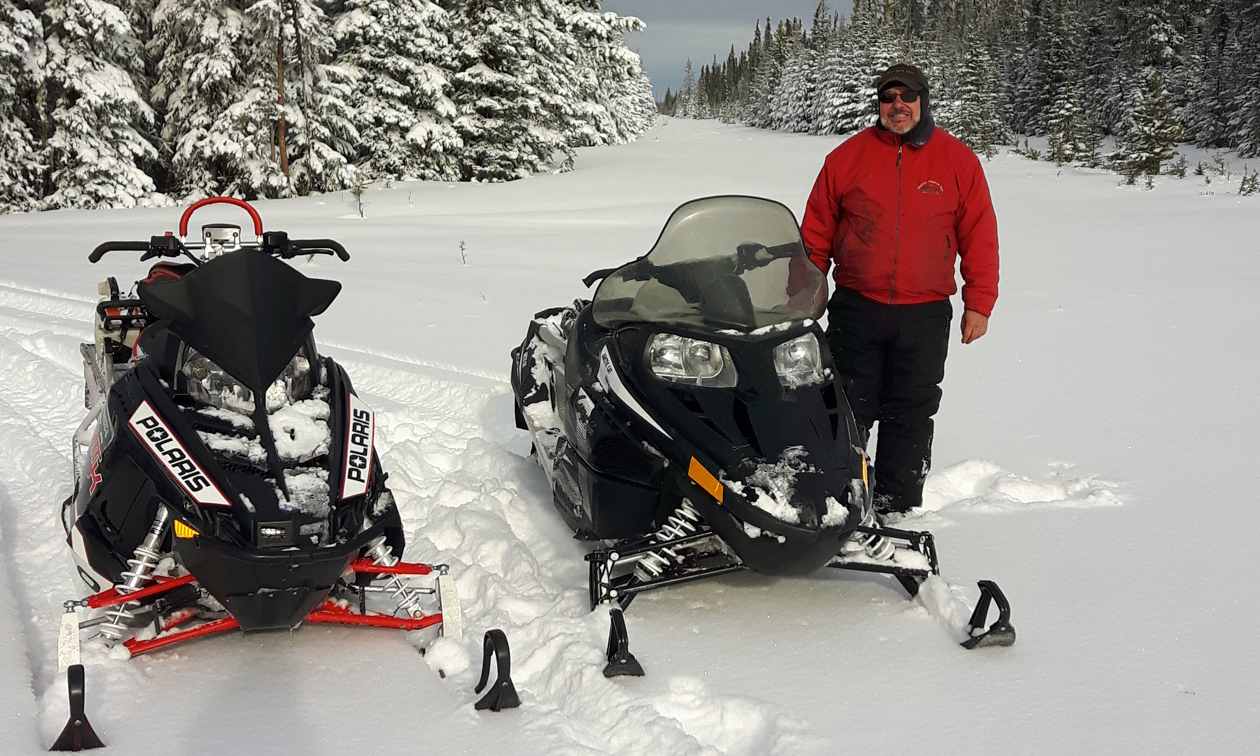 Snowmobilers on the trails near Swan Hills, Alberta.