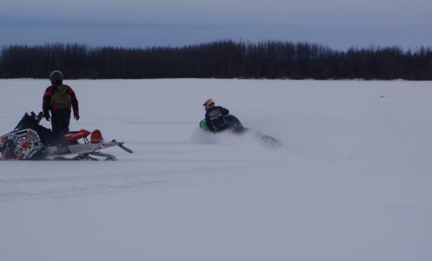 Riding just north of Swan River last winter, Hoeppner (left) and riding partner Will Wiebe found a meadow with a foot of fresh powder.