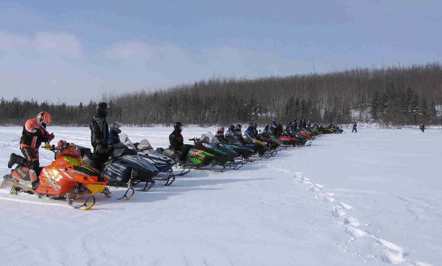 A Group on Pickerel Lake, One of the Many Trails.