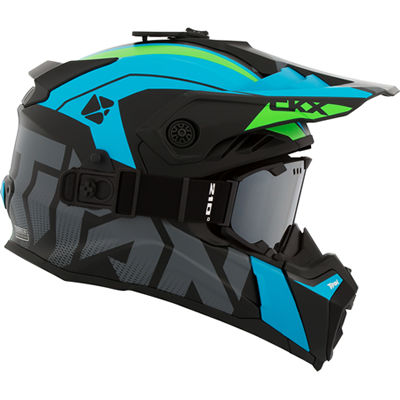Titan Airflow snowmobile helmet in blue, green and black.