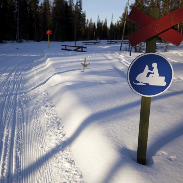 A snowmobile trail with a crossing sign and a sign indicating snowmobilers can cross.