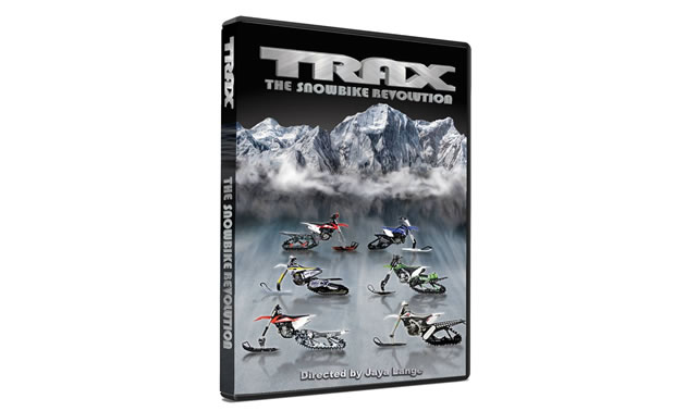 Several snow bike kits on the front cover of Trax film.