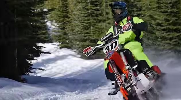 Reagan Sieg on a snowbike.