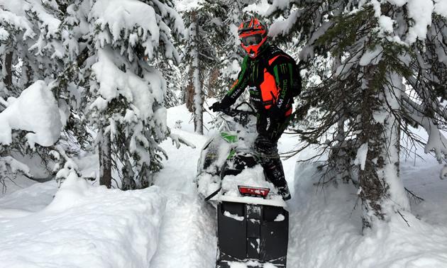 Tucker Hibbert on a mountain sled.