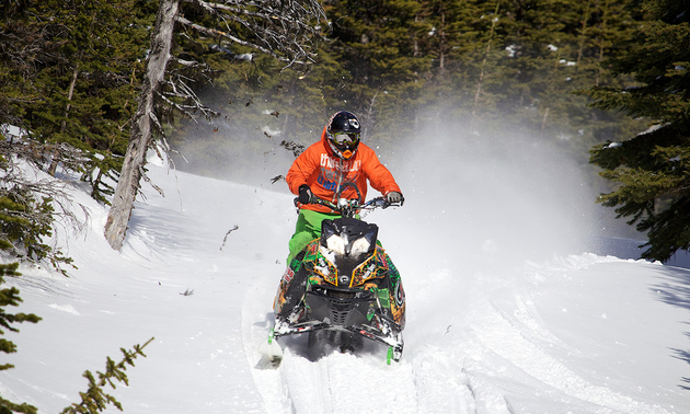 Shane Kruse, a member of the Tumbler Ridge Ridge Riders Snowmobile Association, is snowmobiling on a trail through a coniferous forest.
