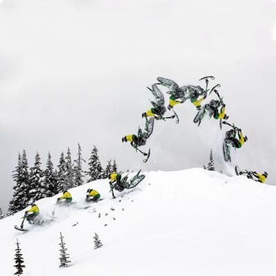 Brett Turcotte backflipping the Yeti Snow MX snow bike.
