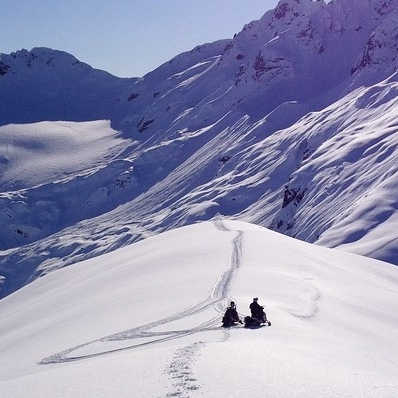 people out snowmobiling