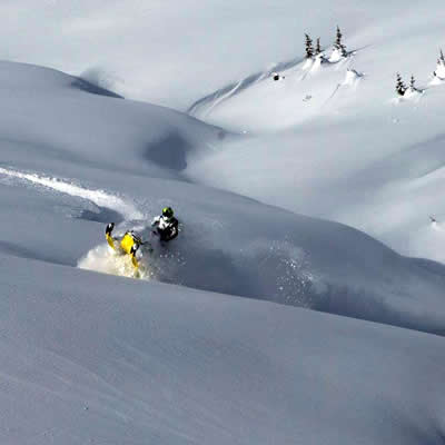 sledder riding fields of fresh powder in Valemount backcountry.