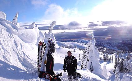 Sledder next to stood-up sled