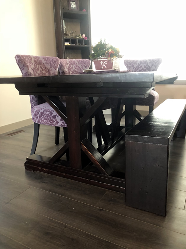 Meagan Render's table that started her woodworking.