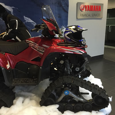 Picture of Yamaha vehicle in their head office lobby.