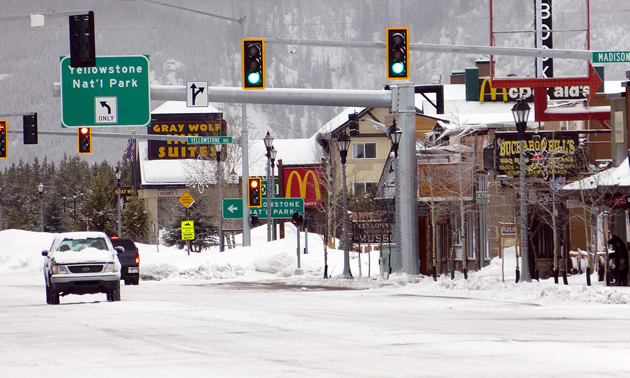 Snow on the streets of West Yellowstone, Montana.
