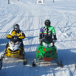 Eight riders are shown on the trail preparing for the Snowarama on February 19th, 2011 in Yorkton.